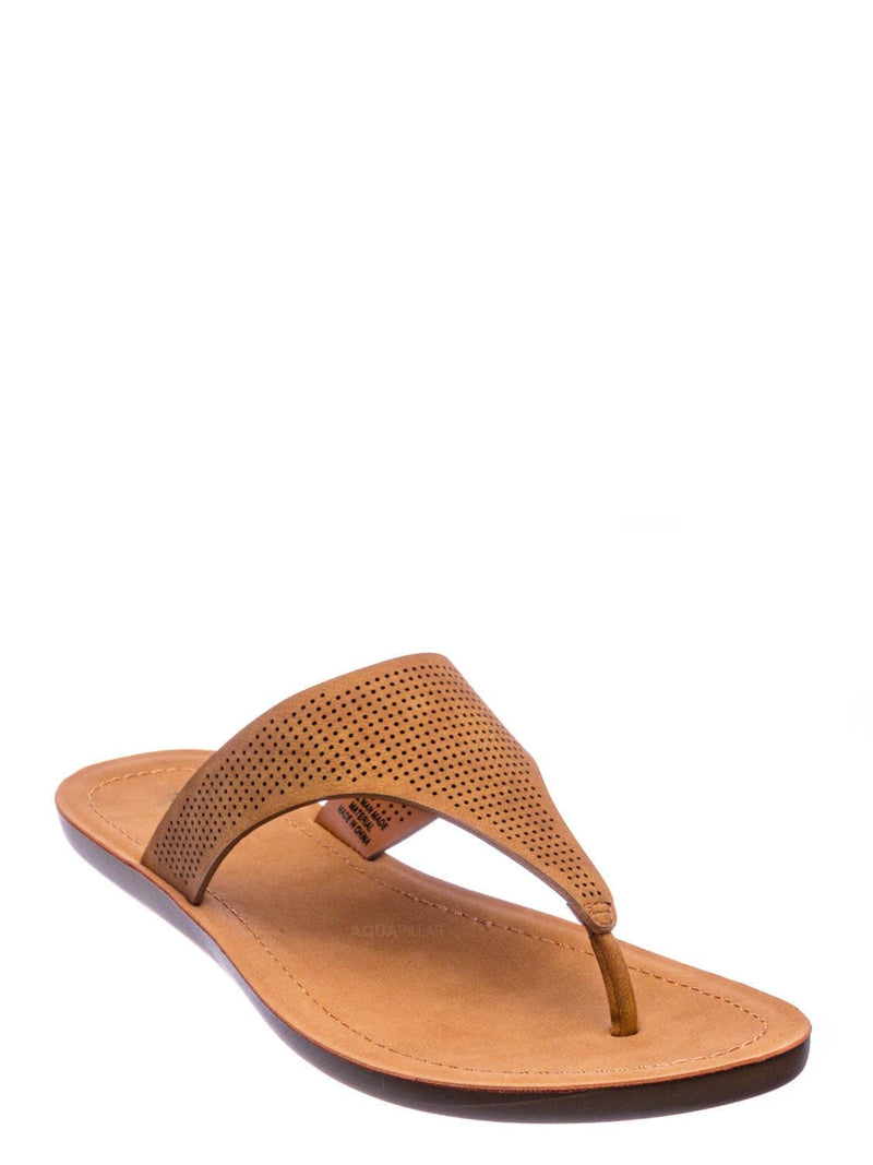 Tan Brown / Mikayla Perforated Footbed Thong Sandals - Womens Light Weight Yoga Slides