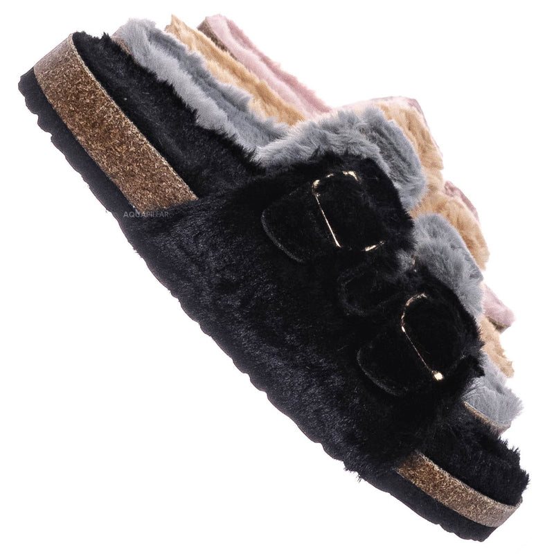 Black / Defeat63 Faux Fur Molded Footbed Slipper - Furry Slide In Cork Slide Sandal
