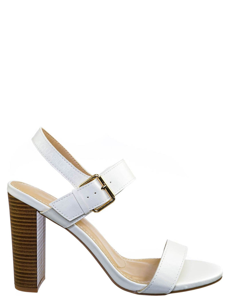 White Pu / Morris318 Double Strap Chunky Block Heel Sandal  - Womens Open Toe Buckled Shoe