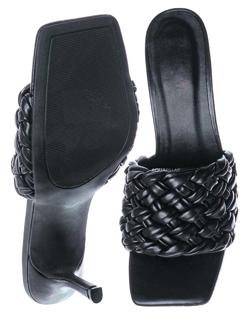 Black / Zeal08 High Heel Puffy Woven Mule - Women Stiletto Pillow Weave Sandal