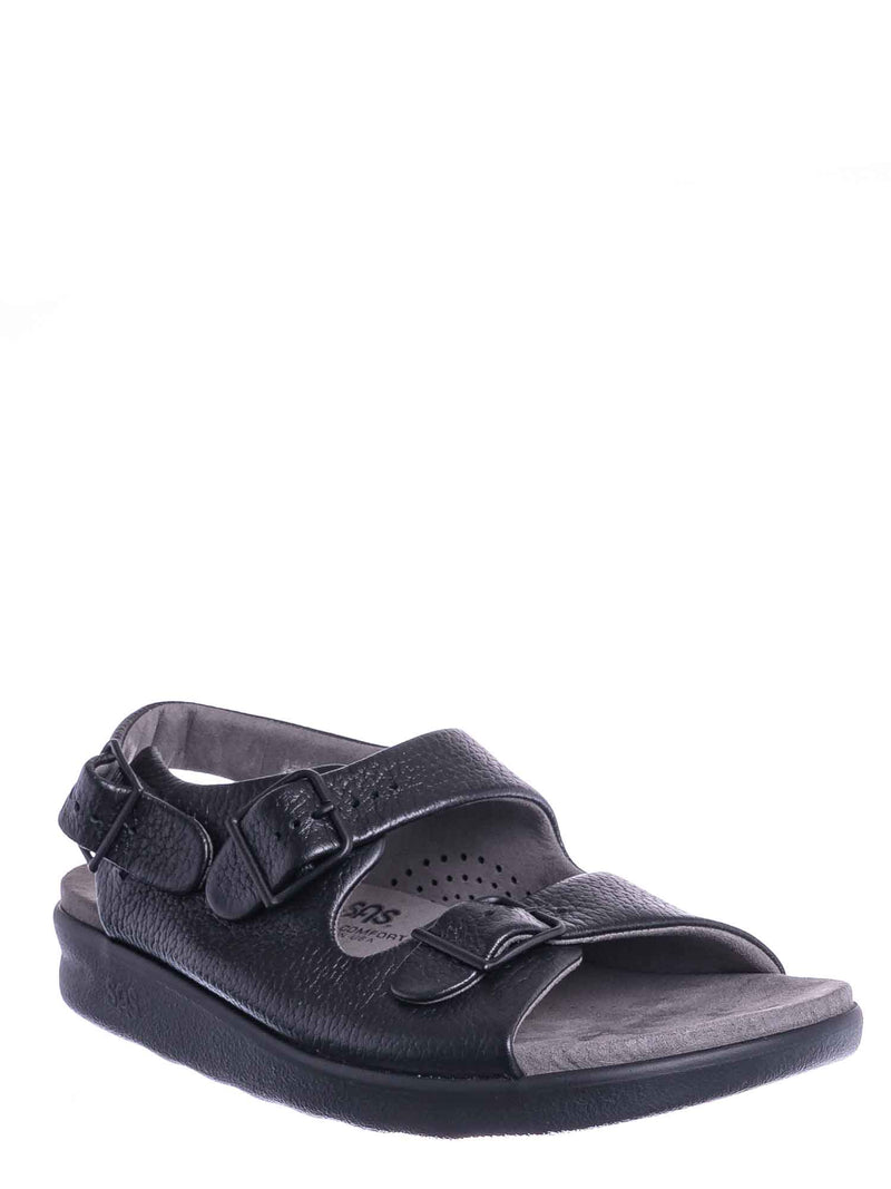 Black / Relaxed Molded Footbed Slingback Sandal - Womens Soft Comfort Thick Cushion Shoe