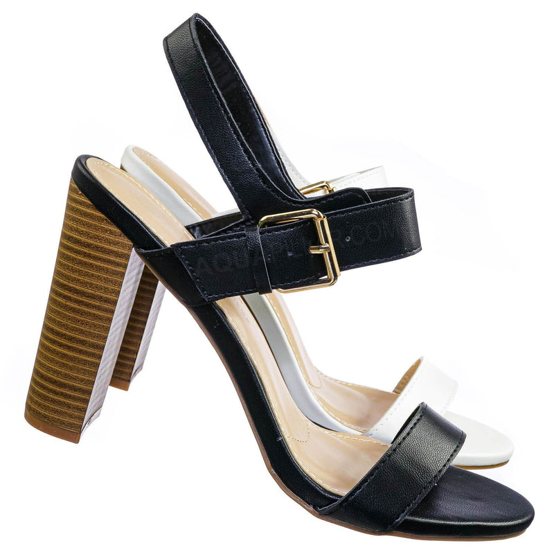 Morris318 Double Strap Chunky Block Heel Sandal  - Womens Open Toe Buckled Shoe