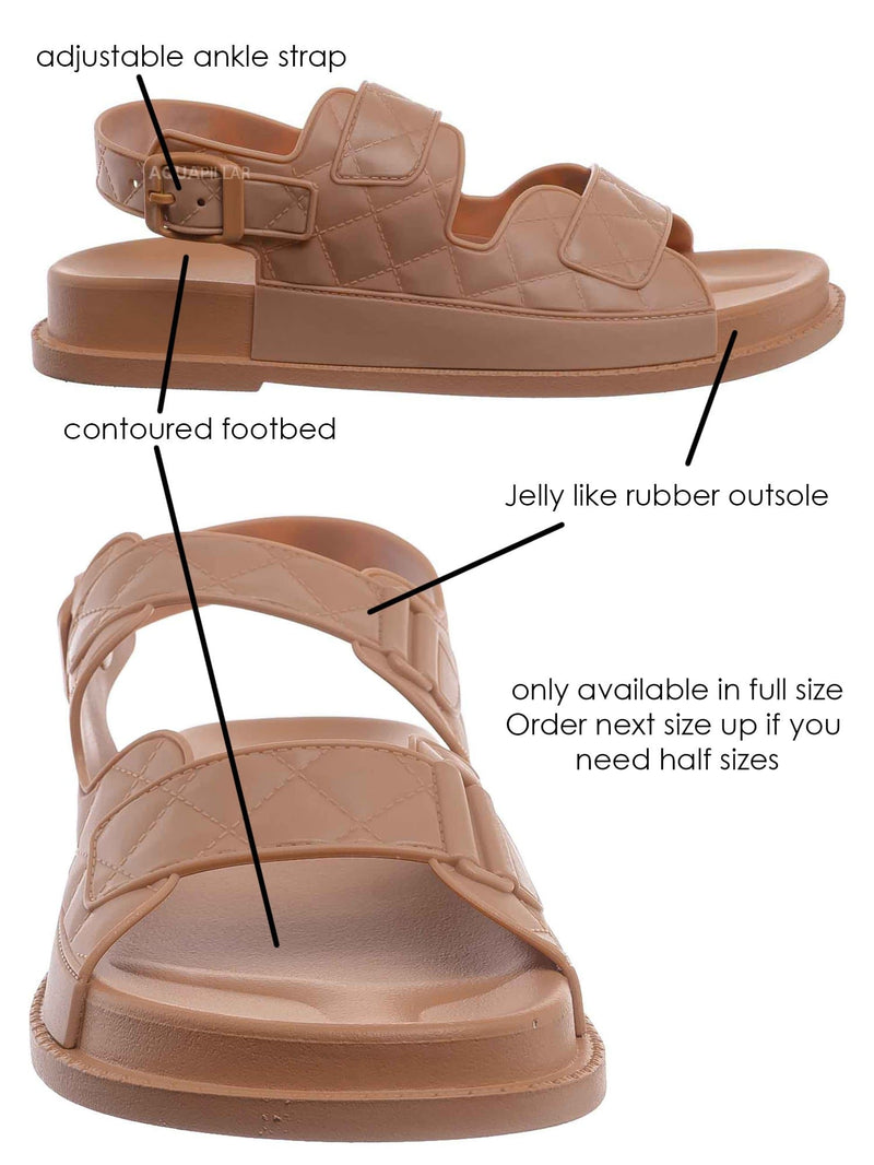 Natural / Peach02 Molded Footbed Quilted Sandal - Womens Comfort Foam Jelly Padded Shoes