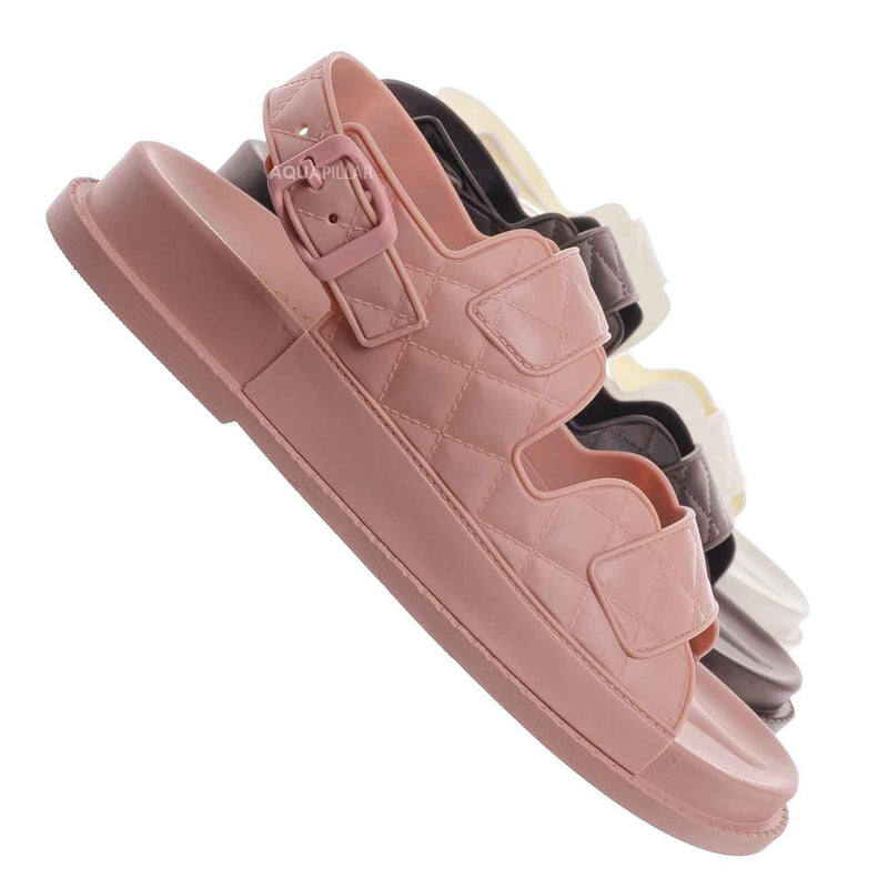 Peach02 Molded Footbed Quilted Sandal - Womens Comfort Foam Jelly Padded Shoes