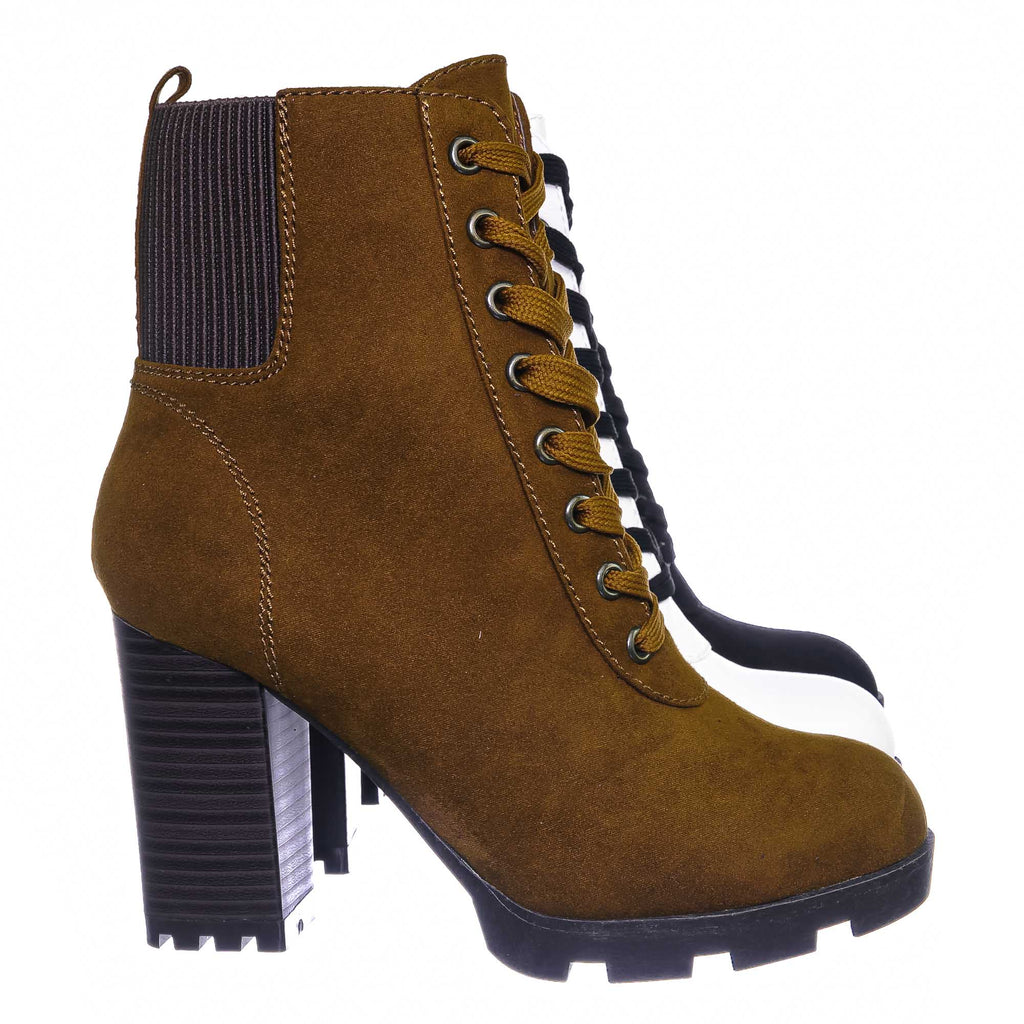 Multi Snake / Pilate09 Block Heel Combat Bootie - Lug Sole Lace Up Goth Victorian Ankle Boots