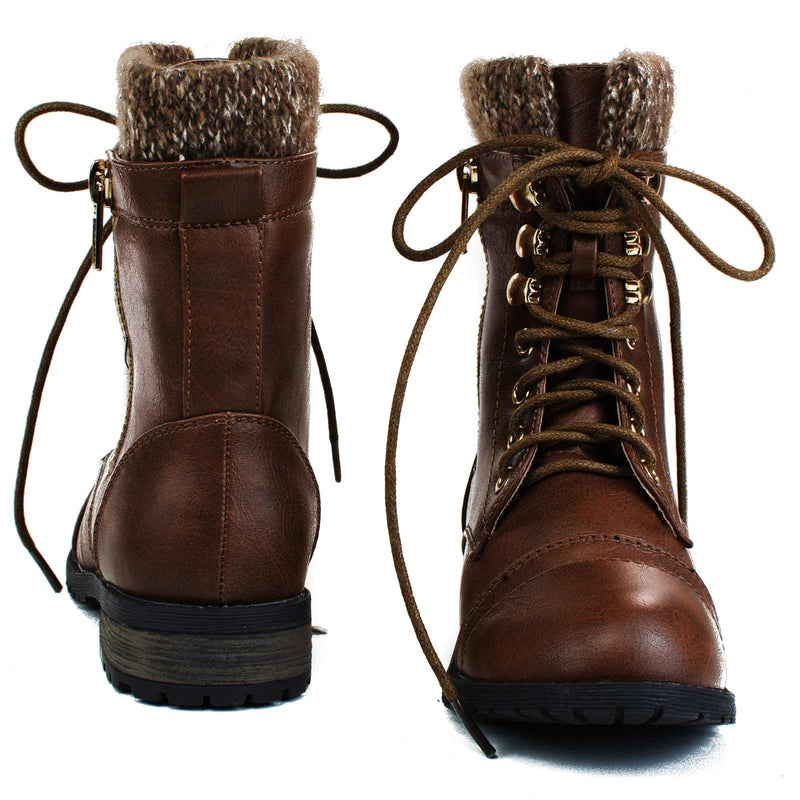 Brown / Mango31k Childrens Sweater Trim Combat Boots - Kid Knitted Military Cuff Shoe