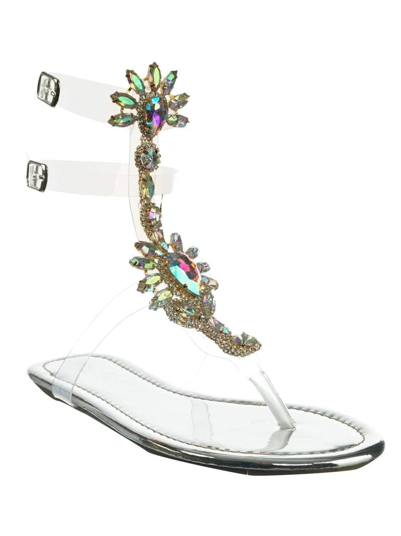Marlo9 Silver Lucite Clear Transparent Iridescent Flat Sandal w Rhinestone Crystal