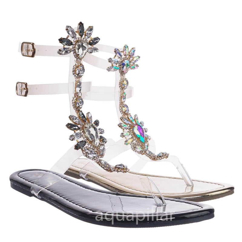 Marlo9 Blk Lucite Clear Transparent Iridescent Flat Sandal w Rhinestone Crystal