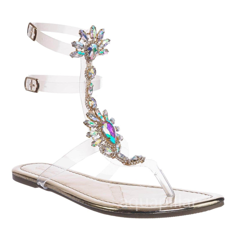Marlo9 Gold Lucite Clear Transparent Iridescent Flat Sandal w Rhinestone Crystal