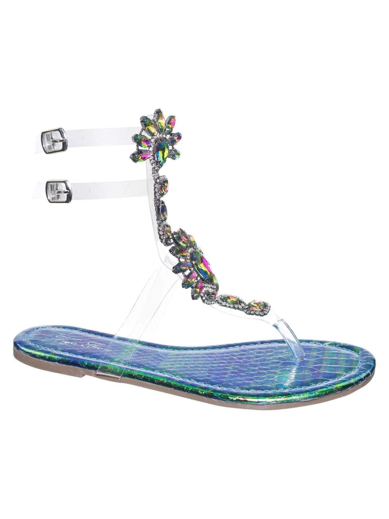 Marlo9 Green Lucite Clear Transparent Iridescent Flat Sandal w Rhinestone Crystal