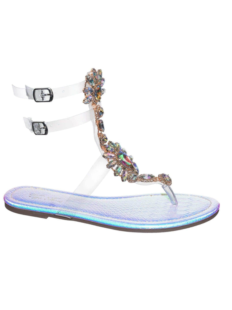 Marlo9 Pink Lucite Clear Transparent Iridescent Flat Sandal w Rhinestone Crystal