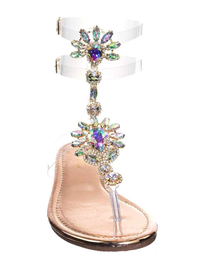 Marlo9 Rosegold Lucite Clear Transparent Iridescent Flat Sandal w Rhinestone Crystal
