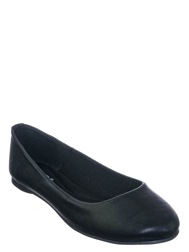Black Pu / Kreme Foam Padded Round Toe Ballet Flat - Womens Ballerina Loafer Shoes