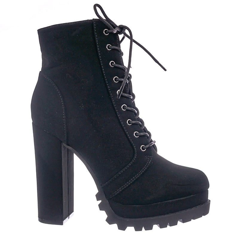 Black Pu / Vivian01 BlkNub Chunky Block High Heel Lug Sole Bootie -Women Ankle Lace Up Combat Boot