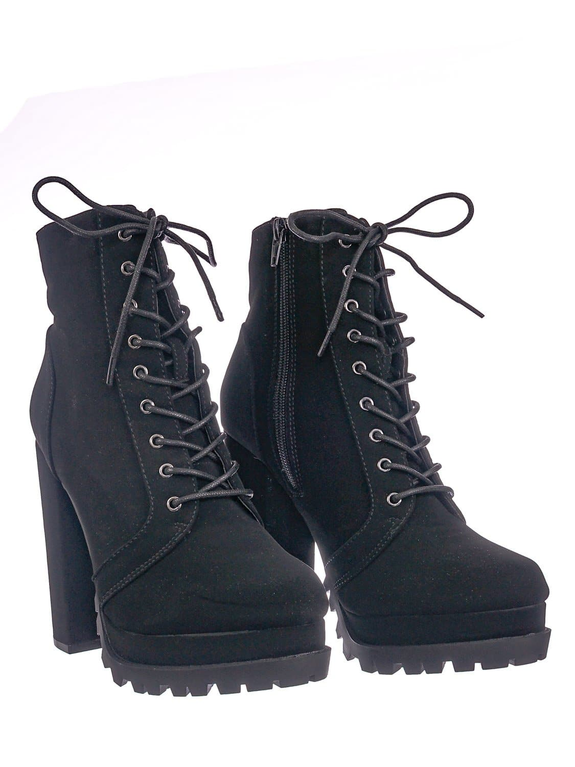 Vivian01 BlkNub Chunky Block High Heel Lug Sole Bootie -Women Ankle Lace Up Combat Boot