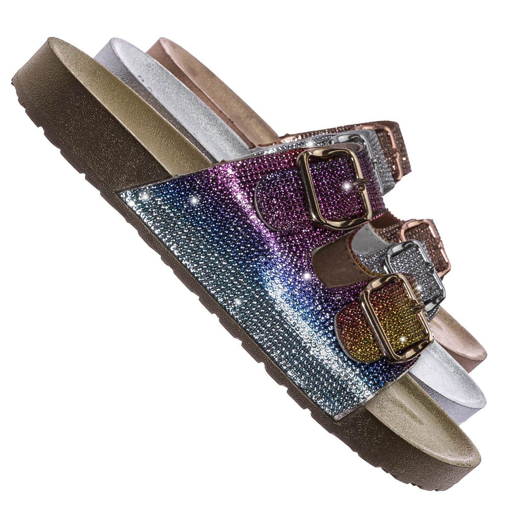 Gold Rainbow / Luster01 Rhinestone Molded Footbed Sandal - Contoured Crystal Slip On Slipper