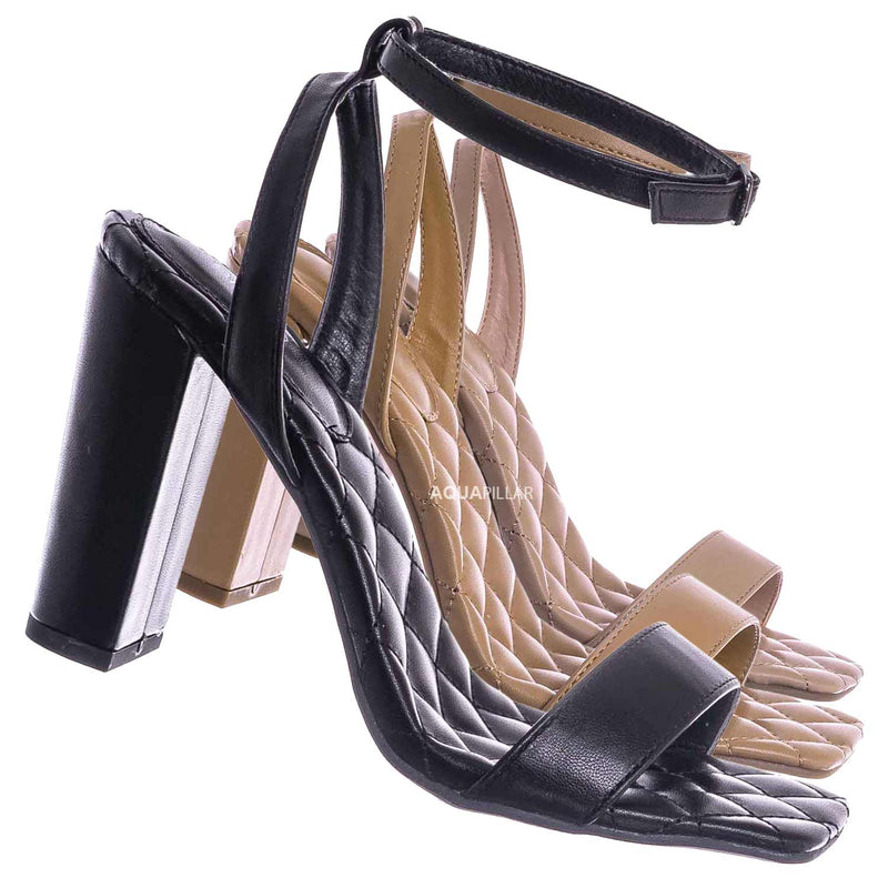 Black / Pita48 Matelassé Quilted Chunky Heel Sandal - Women Adjustable Ankle Strap Shoes