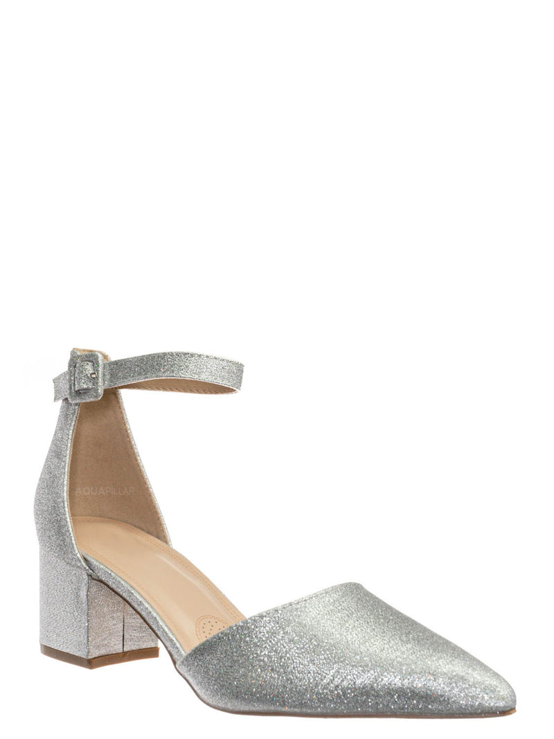 Silver Metallic / Nataly01 Low Block Heel d'Orsay Pump - Pointed Toe Two Piece Office Dress Shoes
