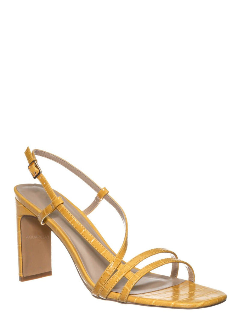 Mustard Yellow / Kaiya1 Barely There Flat Block Heel Sandal - Open Squared Toe Animal Croc Print