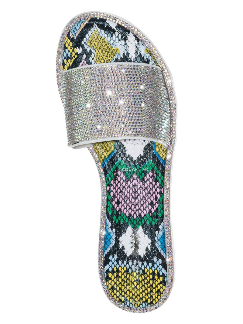 Iridescent Multi / Share01 Jelly Rhinestone Crystal Slipper - Animal Print Clear Lucite Sandal