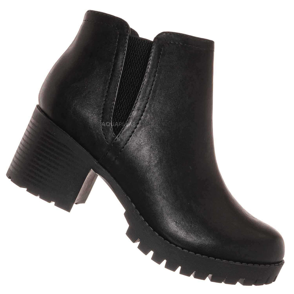 Black Pu / Thumb Chelsea Boots W V-Slit Ankle Bootie On Chunky Heel