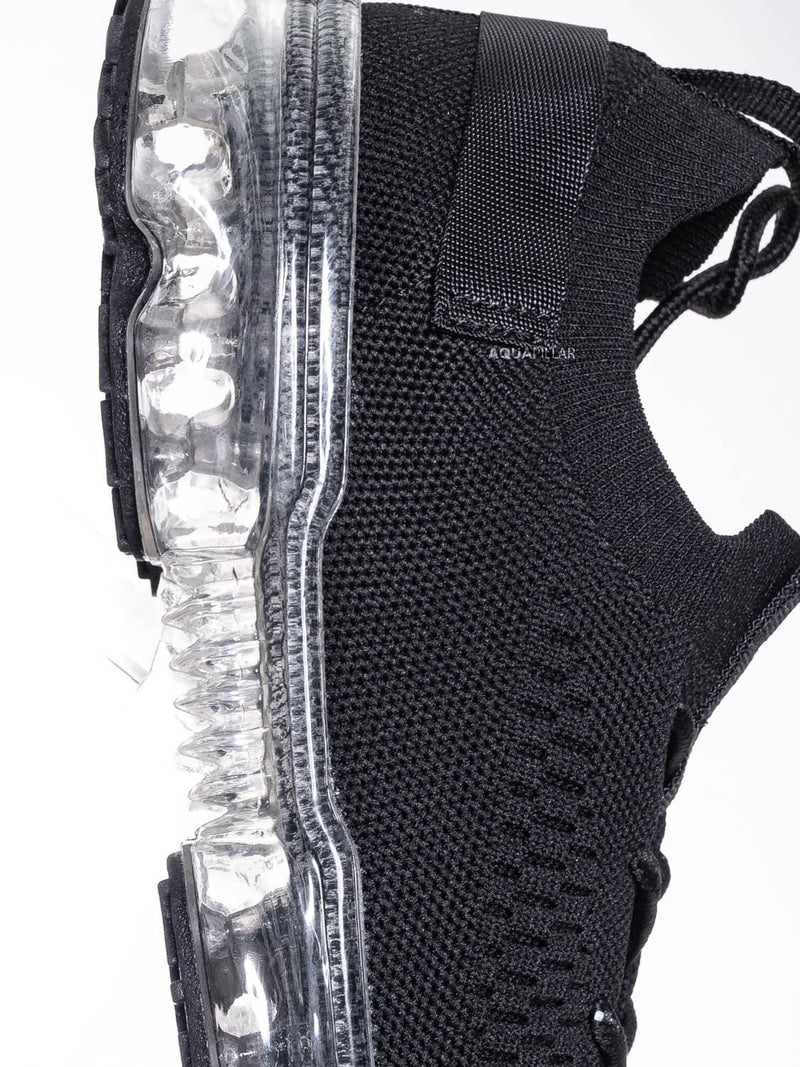 Black Clear / Flow19 Stretch Elastic Mesh Sneaker - Festival Lace Up Rubber Air Bubble Cushion