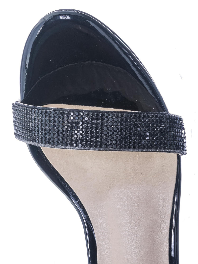 Black Black / Rise9k Childern Rhinestone Low Heel Sandals - Girls Crystal Dressy Open Toe Shoe