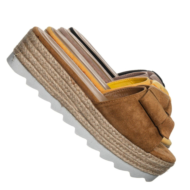 Tan Brown / Abundance09 Esapdrille Flatform Slide Sandal - Jute Rope Wrapped Saw Edge Sole
