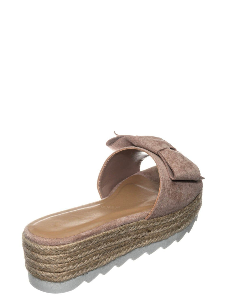 Blush Beige / Abundance09 Esapdrille Flatform Slide Sandal - Jute Rope Wrapped Saw Edge Sole