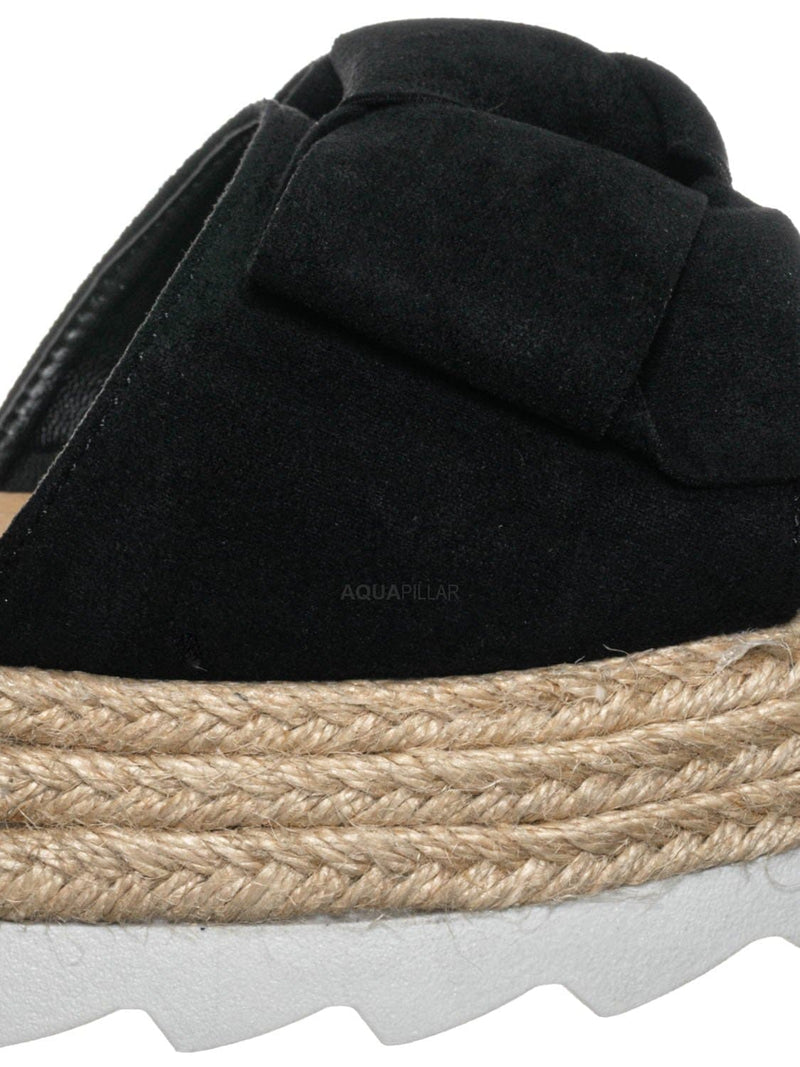 Black / Abundance09 Esapdrille Flatform Slide Sandal - Jute Rope Wrapped Saw Edge Sole