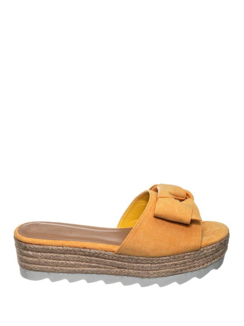 Amber Yellow / Abundance09 Esapdrille Flatform Slide Sandal - Jute Rope Wrapped Saw Edge Sole