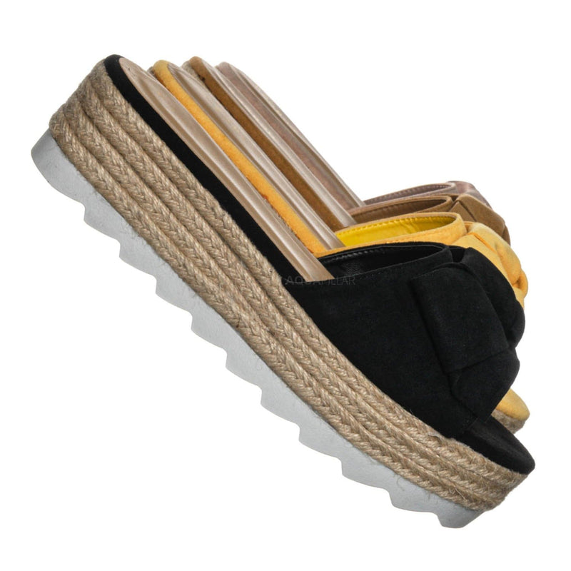 Abundance09 Esapdrille Flatform Slide Sandal - Jute Rope Wrapped Saw Edge Sole