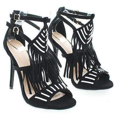 Adele206 By Wild Diva, Open Toe Two Tone Strappy Southwestern Fringe Stiletto Heels