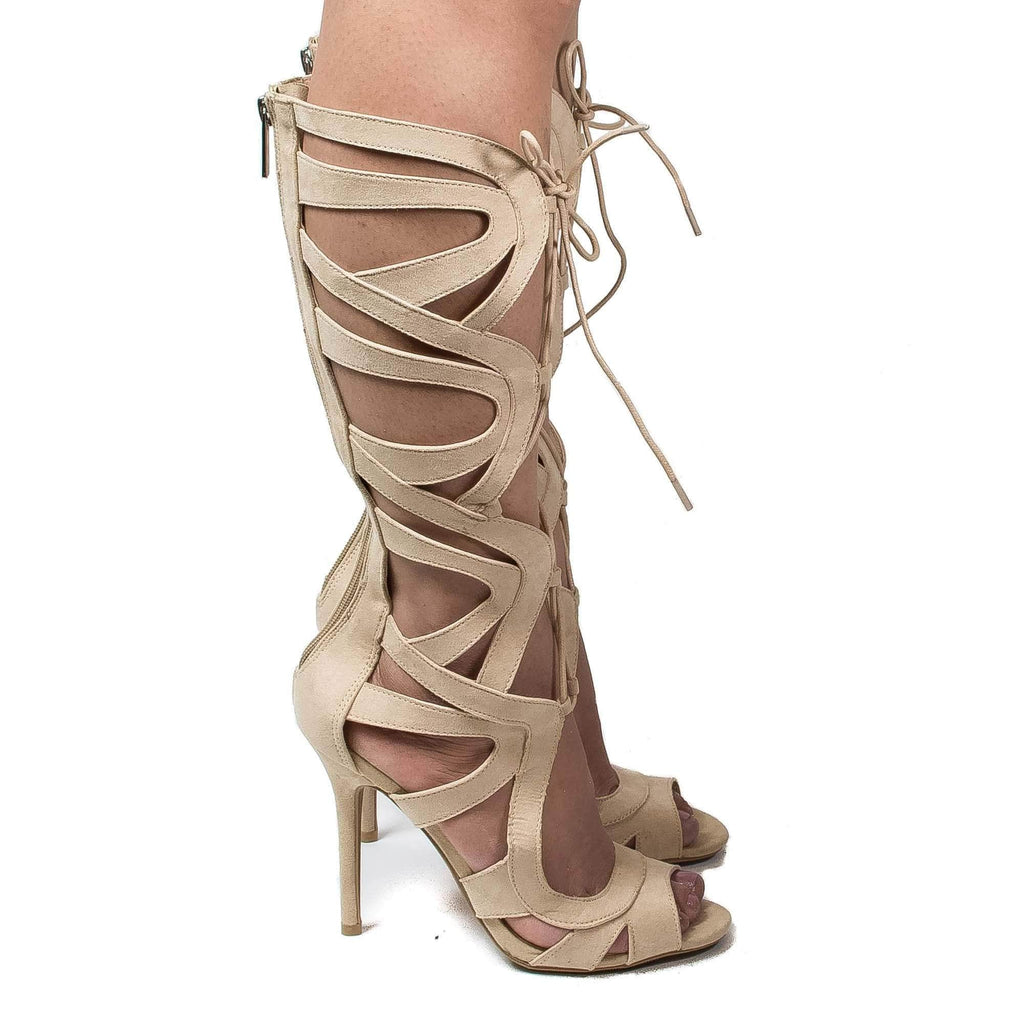 Adele208 By Wild Diva, Knee High Open Toe Cut Out Corset Lace Up Stiletto Heels