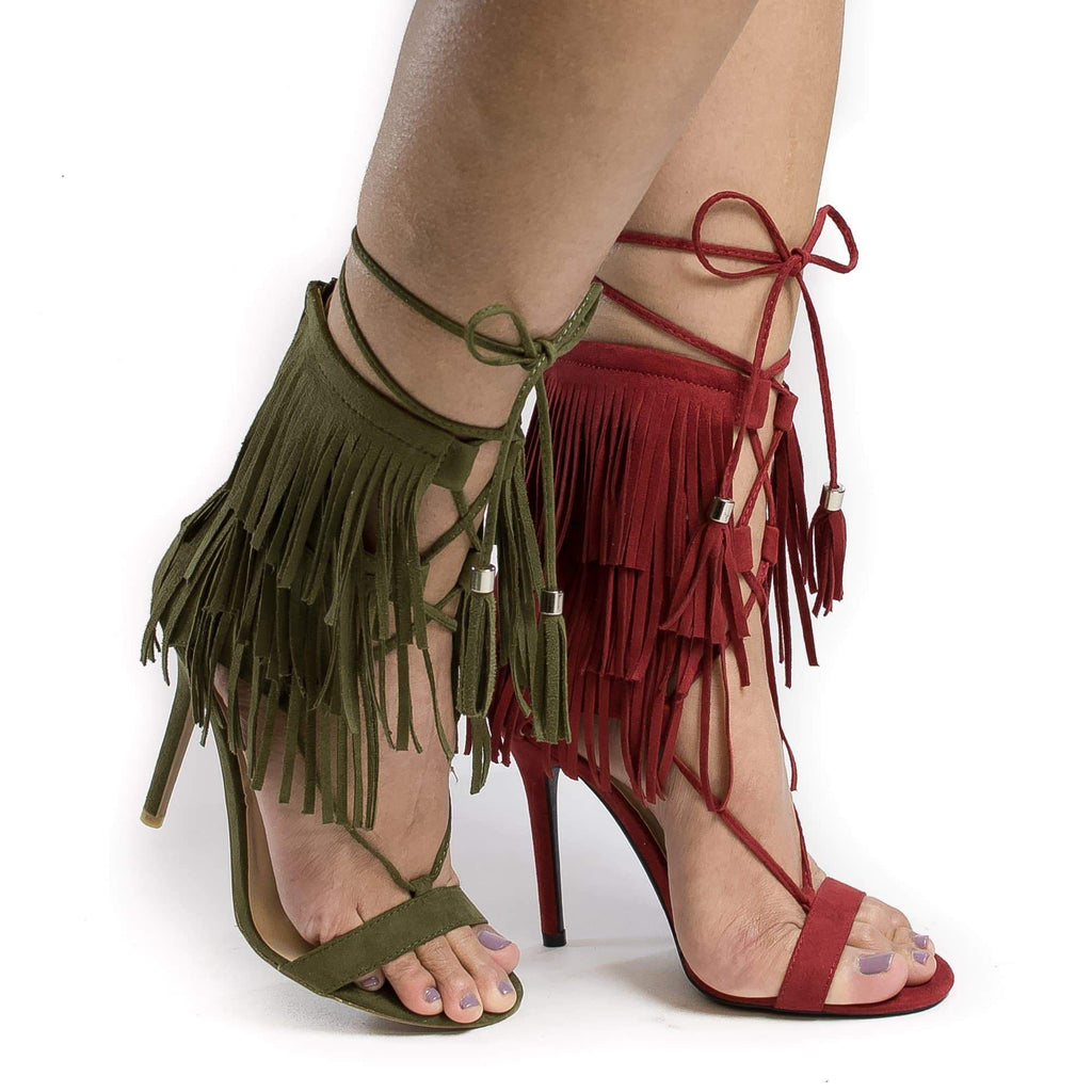 Adele221 By Wild Diva, Open Toe Layered Fringe Corset Tassel Lace Up Stiletto Heels