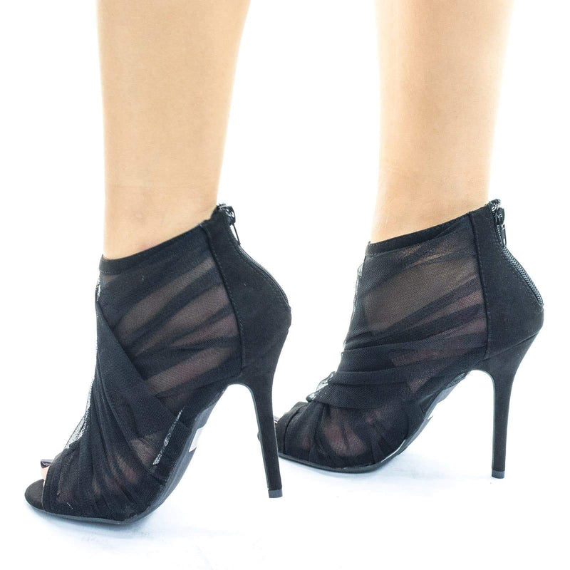 Adele402 Peep Toe Dress bootie w Folded See Through Mesh Folding Silky Fabric