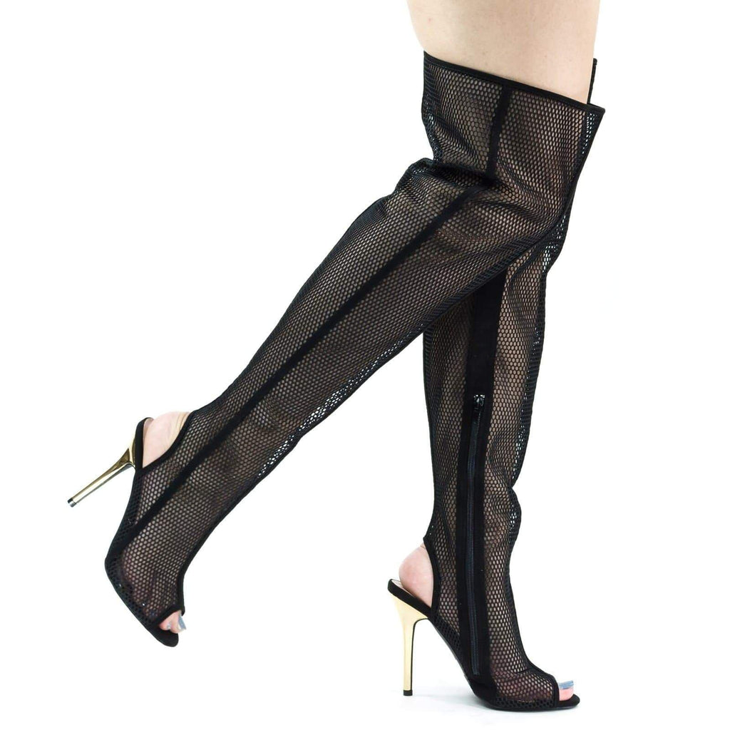 Adele403 Black By Wild Diva, Over Knee See Through Fishnet Mesh Boots, Metallic High Heel & Peep Toe