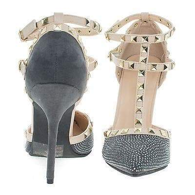 Adora64C By Wild Diva, Metal Studded Pointed Toe Pump w/ Open Vamp D'Orsay Shoes