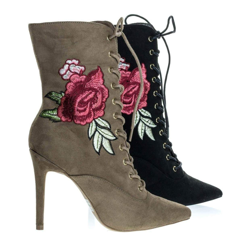 Akira147A Women Corset Combat Boot w Rose Metallic Embroidered Stitch High Heel