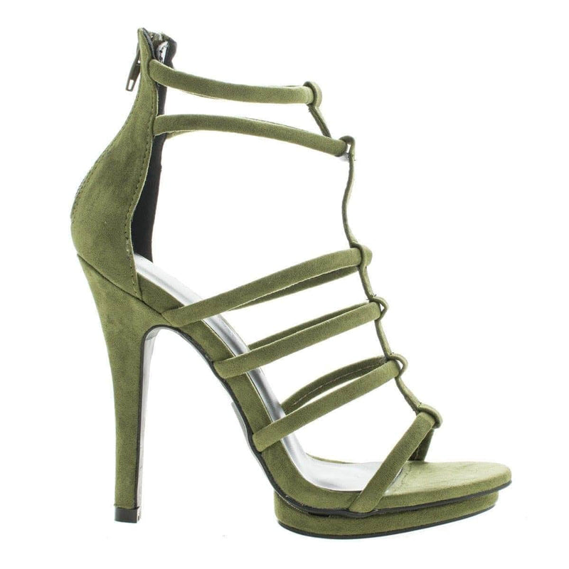 Amy39 by Wild Diva, Open Toe Caged Stiletto High Heeled Sandals - Aquapillar.com