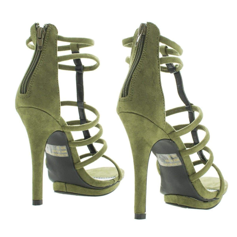 Amy39 Open Toe Caged Stiletto High Heeled Sandals