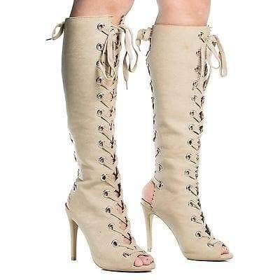 Berlin29 By Wild Diva, Peep Toe Corset Boots w High Heel Open Back