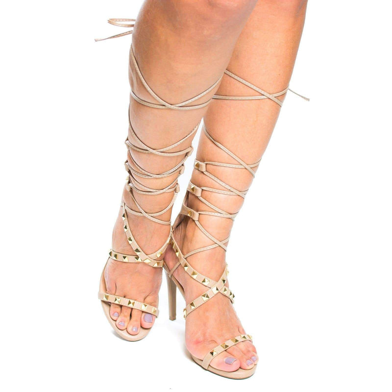 Berlin77 By Wild Diva, Gladiator Studded Leg Wrap Stiletto High Heel Sandals
