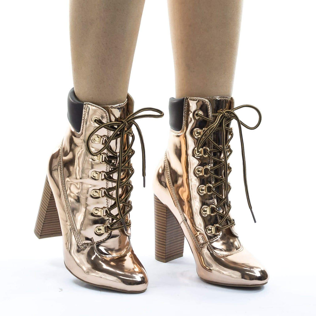 Blossom33 Gold Metallic Block Heel Combat Work Boots w Lace Up Padded Collar