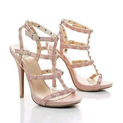 Bridget74 By Wild Diva, Pyramid Studded Caged Open Toe Stiletto Sandals