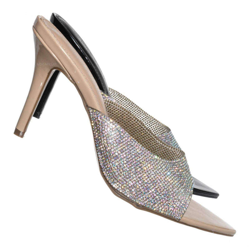 Nude w Rhinestone / Carmel01 Pointed Toe Rhinestone Mule - Shimmering Slide In High Heel Slipper
