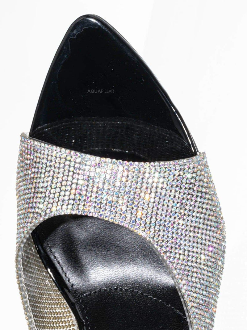 Black w Rhinestone / Carmel01 Pointed Toe Rhinestone Mule - Shimmering Slide In High Heel Slipper