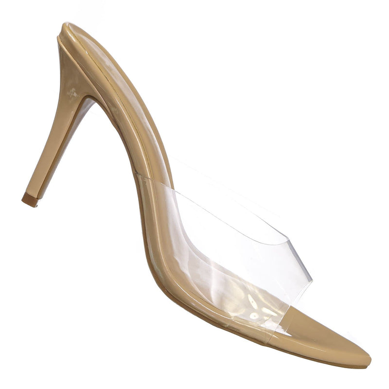 Natural Beige / Carmel01 Pointed Toe Rhinestone Mule - Shimmering Slide In High Heel Slipper