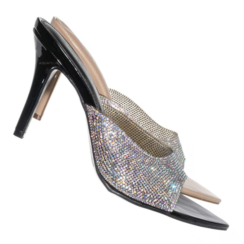 Carmel01 Pointed Toe Rhinestone Mule - Shimmering Slide In High Heel Slipper