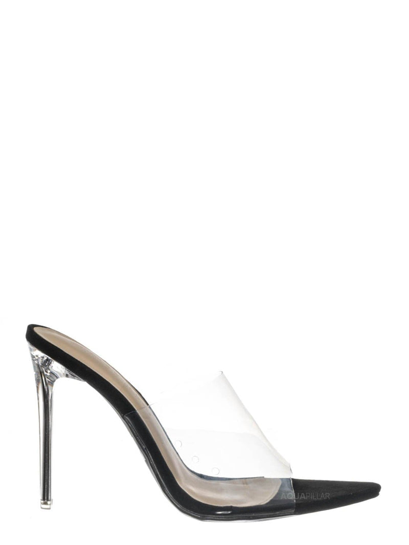 Black Pu / Carmy51 Lucite Mule Stiletto Sandals - Womens Transparent Open Pointed Toe Heels